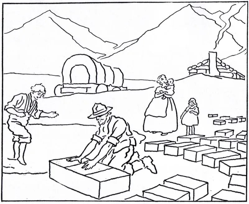 "Mormon History Coloring Book, 1923: September, ""Industrial"