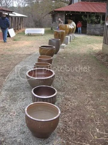 row of pots