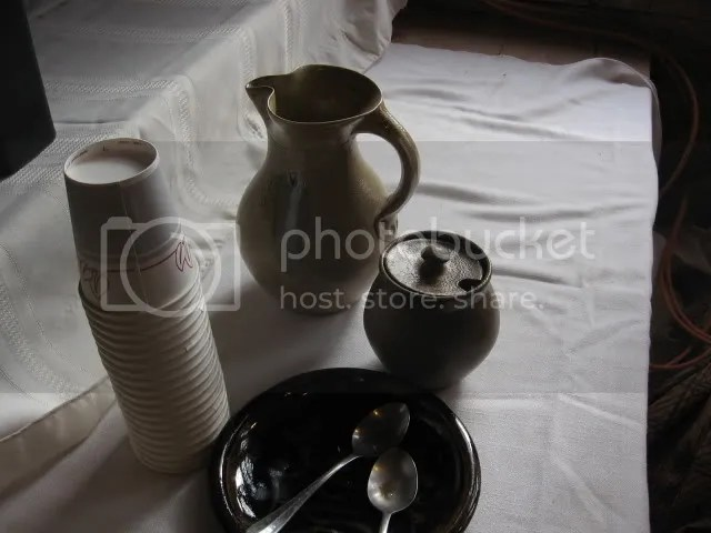 a nice display of the milk pitcher and sugar bowl