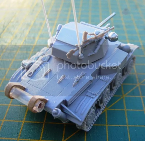 Antenna and Bren Gun on the turret, plus fuel tank on the back.