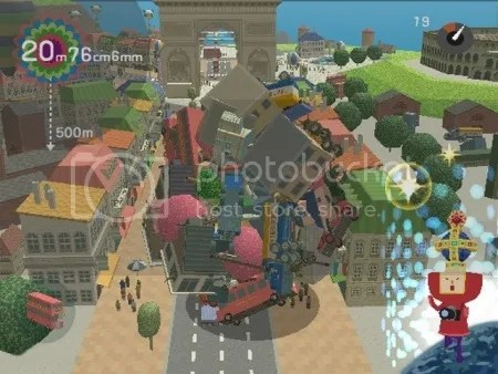 Cảnh trong trò game Katamari Damacy.