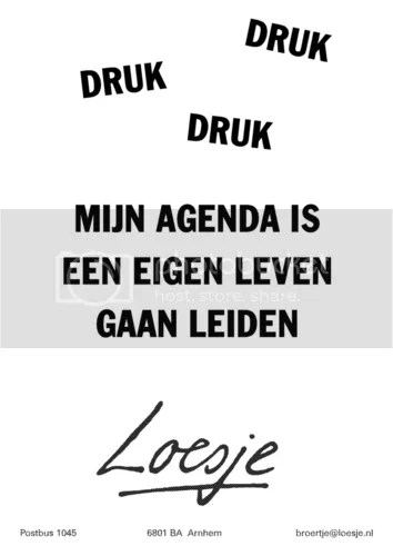 Druk, druk, druk mijn agenda is een eigen leven gaan leiden... ultieme Loesje poster