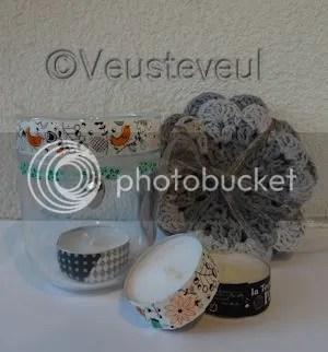 Juffencadeau gehaakte onderzetters en waxine hudertje met washi tape