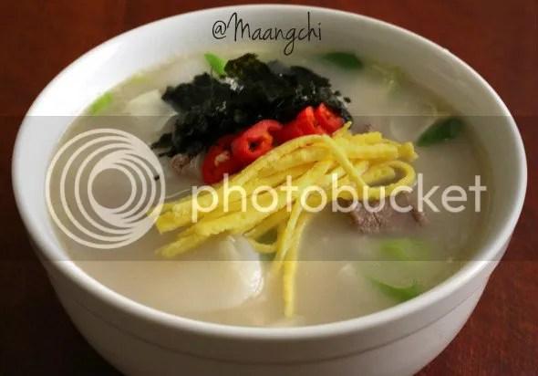Tteokguk (Rice Cake Soup) by Maangchi.com