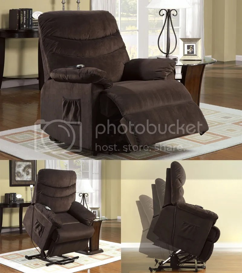 chair stand power best glider australia assist lift system cocoa brown fabric plush cushion recliner