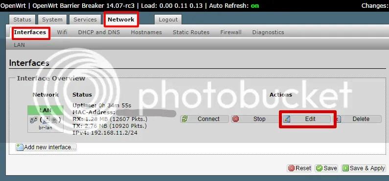 OpenWrtのLuCI WebインターフェースでLANの設定をする