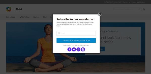 Magento 2 Newsletter Popup style 1