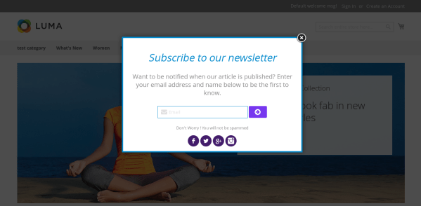 Magento 2 Newsletter Popup style 2