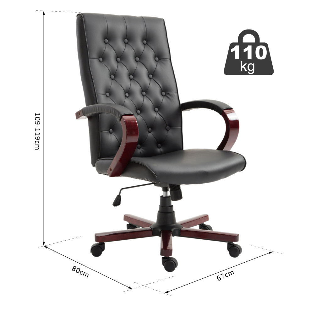 Height Adjustable Chair Vinsetto High Back Executive Office Chair Swivel Computer Desk Armchair Tilting Seat Height Adjustable Ergonomic Bonded Leather Wooden Base Black