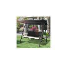 Outsunny 3 Seater Swing Chair Black Rattan Garden Seat