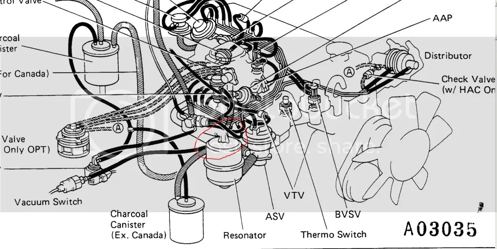 1987 toyota pickup vacuum line diagram 4l80 wiring 87 22r federal distributor advance routing yotatech forums if there is a t somewhere that i didn see then it would make sense why s not holding but just don where go to