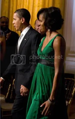 Michelle Obama in Kai Milla Emerald Trapeze Dress
