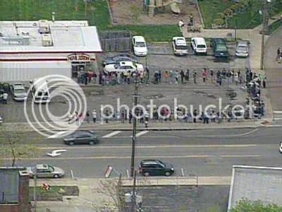Lines outside a Cleveland-area Papa John's