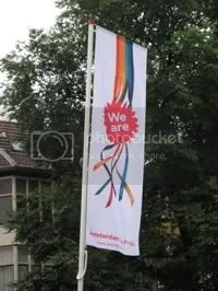 Banners announce the upcoming gay parade