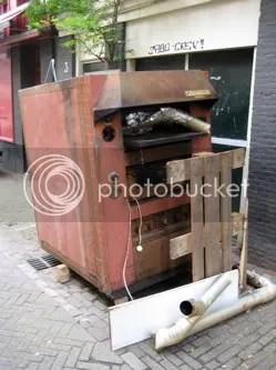 Dead oven outside the local Italian restaurant