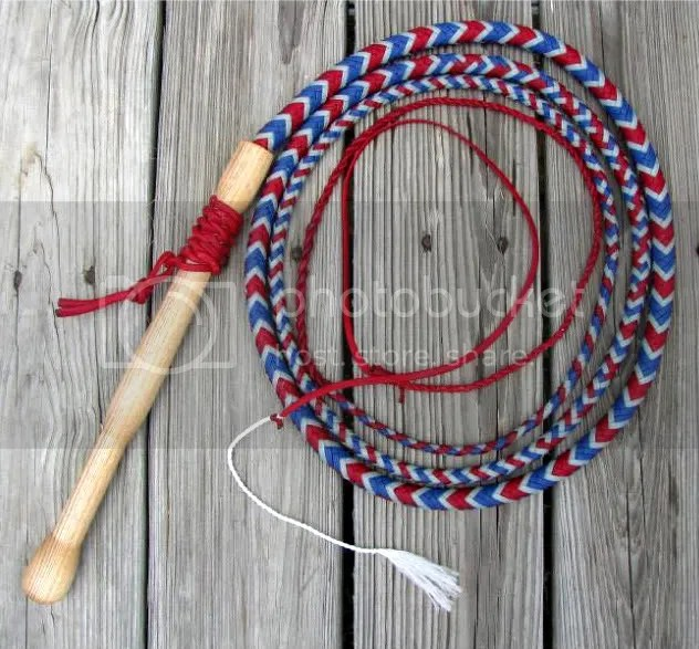 10ft red, silver, & blue cow whip