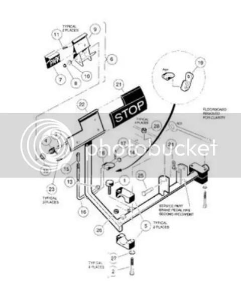 05 Gas Club Car Brake pedal assembly