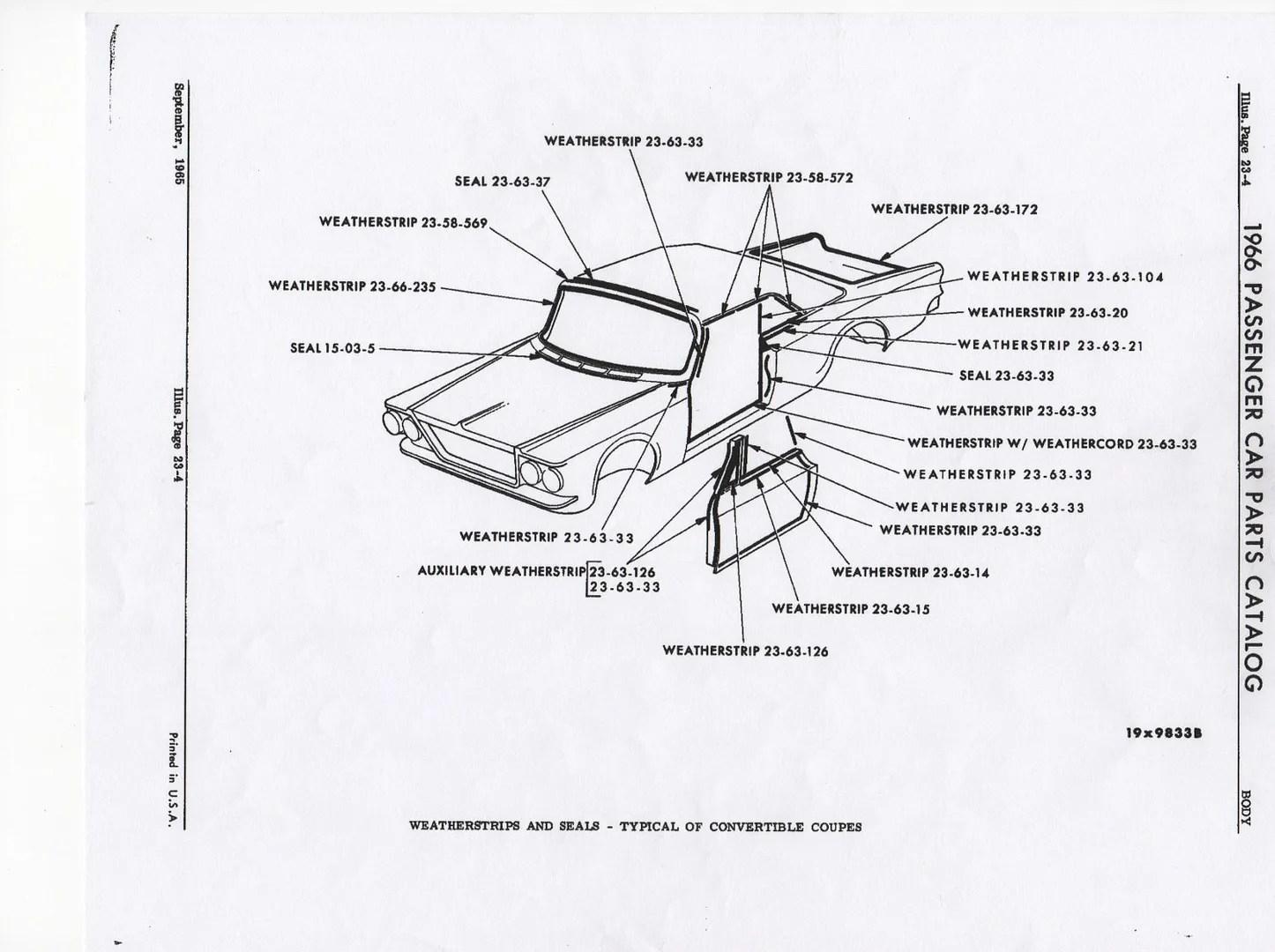 1966 & 1967 B-Body Window Glass & Weatherstrip Interchange