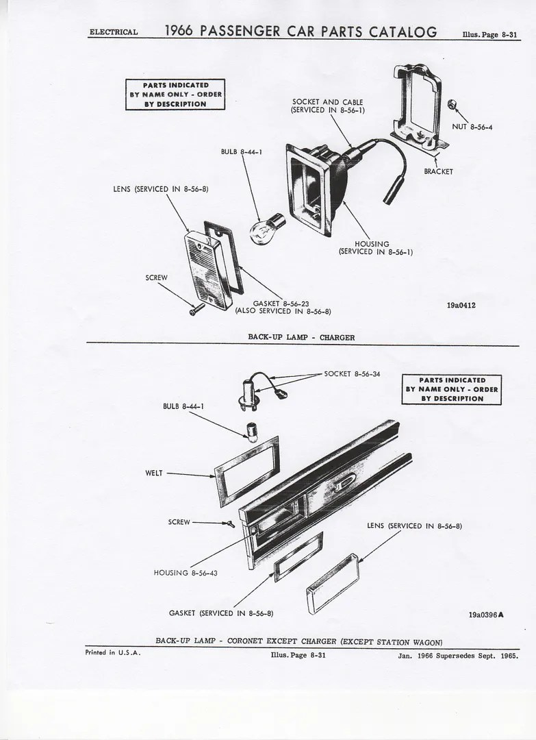 1966 & 1967 Coronet & Charger Back-up Lamp Interchange Guide