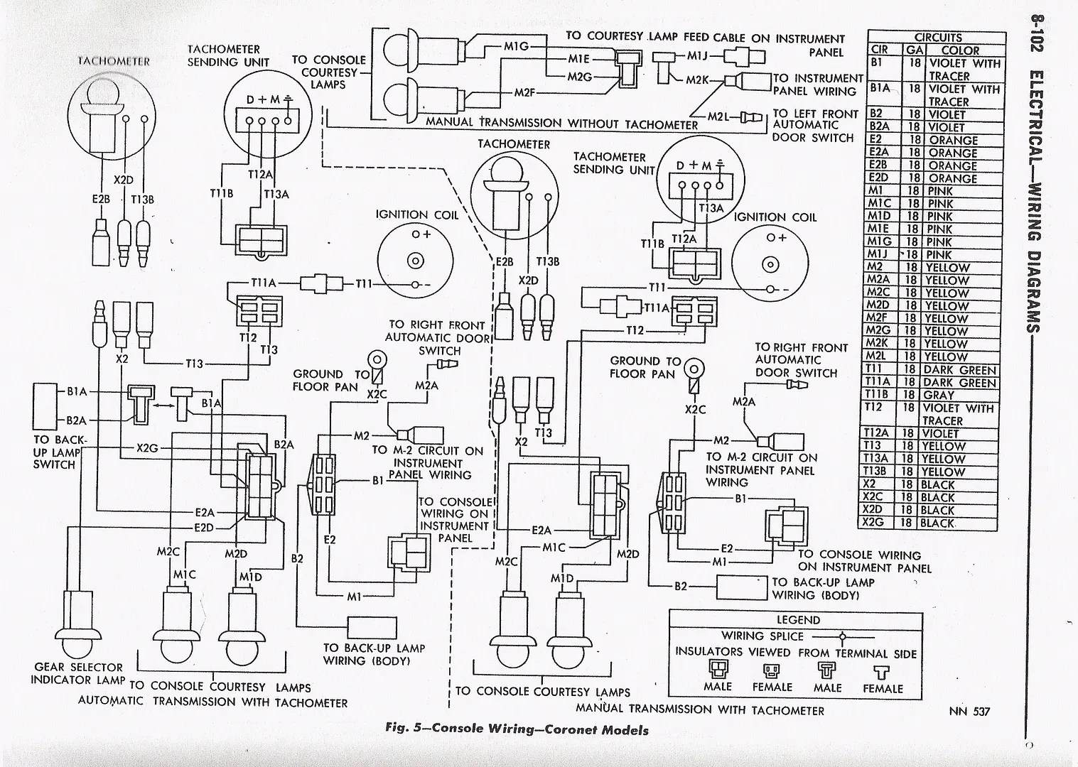 1966 Coronet Floor Console Wiring Diagram With Factory