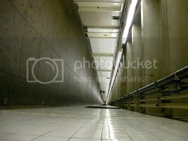 Pedestrian subway tunnel turned sideways