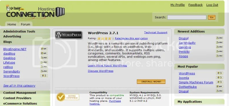 This is where one can automatically install the WordPress application.
