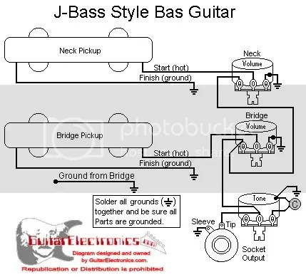 wiring a bass with 2 volumes 1 tone and no switch