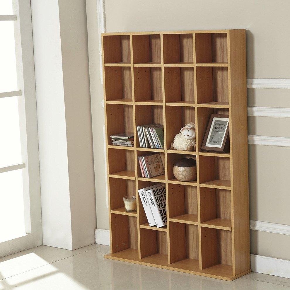 Homcom Cd/dvd Storage Shelf Rack Unit Shelves Wooden