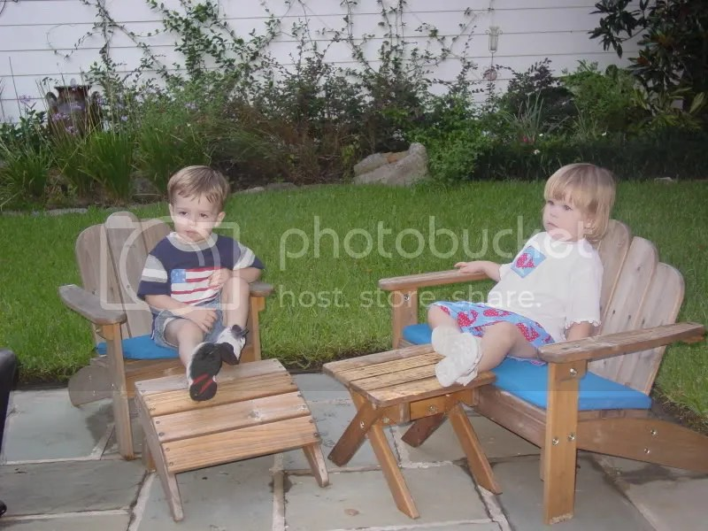 Chillin' on the patio with Camden, her cousin