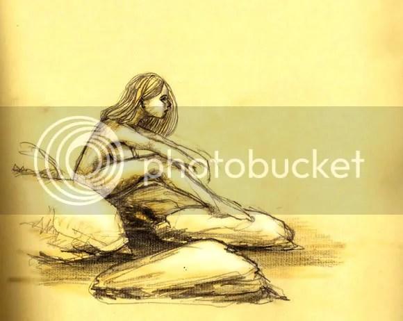 pencil sketch of nude girl sitting on rocks