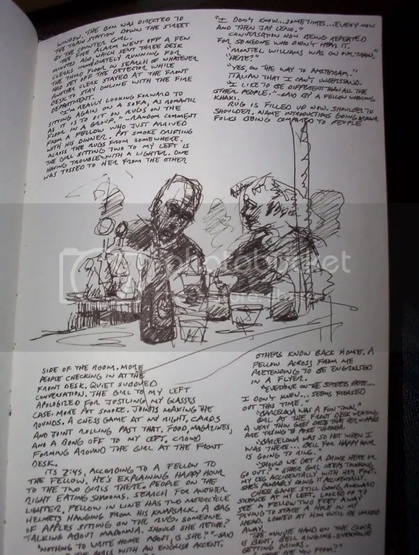 Flying Pig Hostel bar sketch