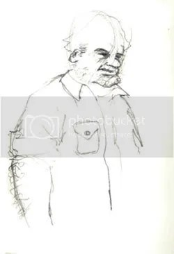 A sketch of a guy with big forearms