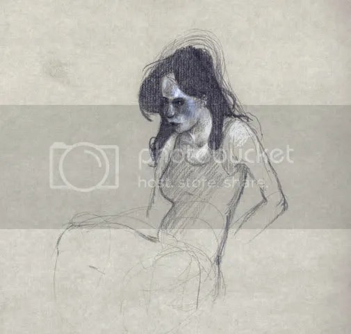 pencil sketch of a ticked off girl