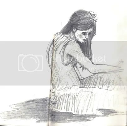 A sketch of girl in a dress sitting