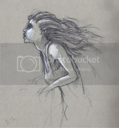 wind blowing through a girl's hair