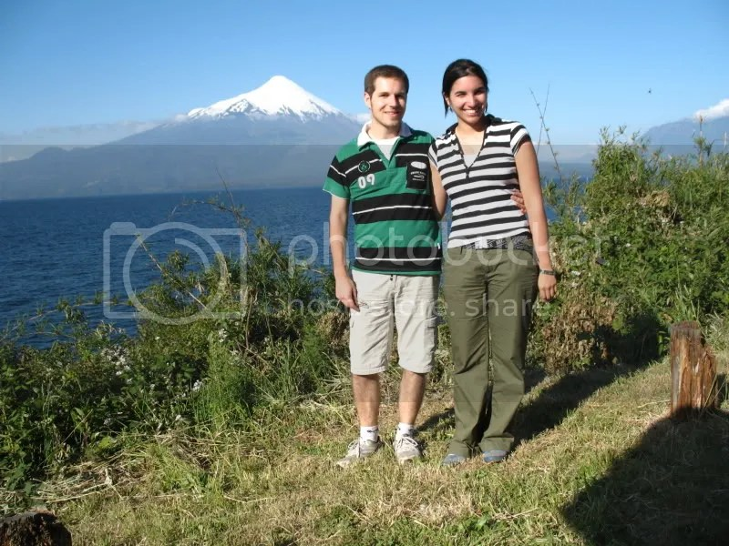 My boyfriend Thomas and I with Osorno Volcano in the background