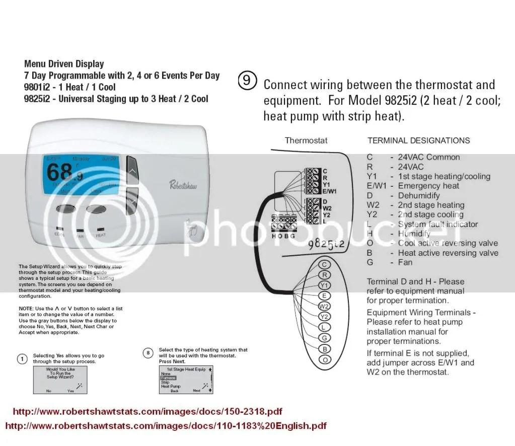 Thermostat Wiring Robertshaw 9825i2 DoItYourself Com Community