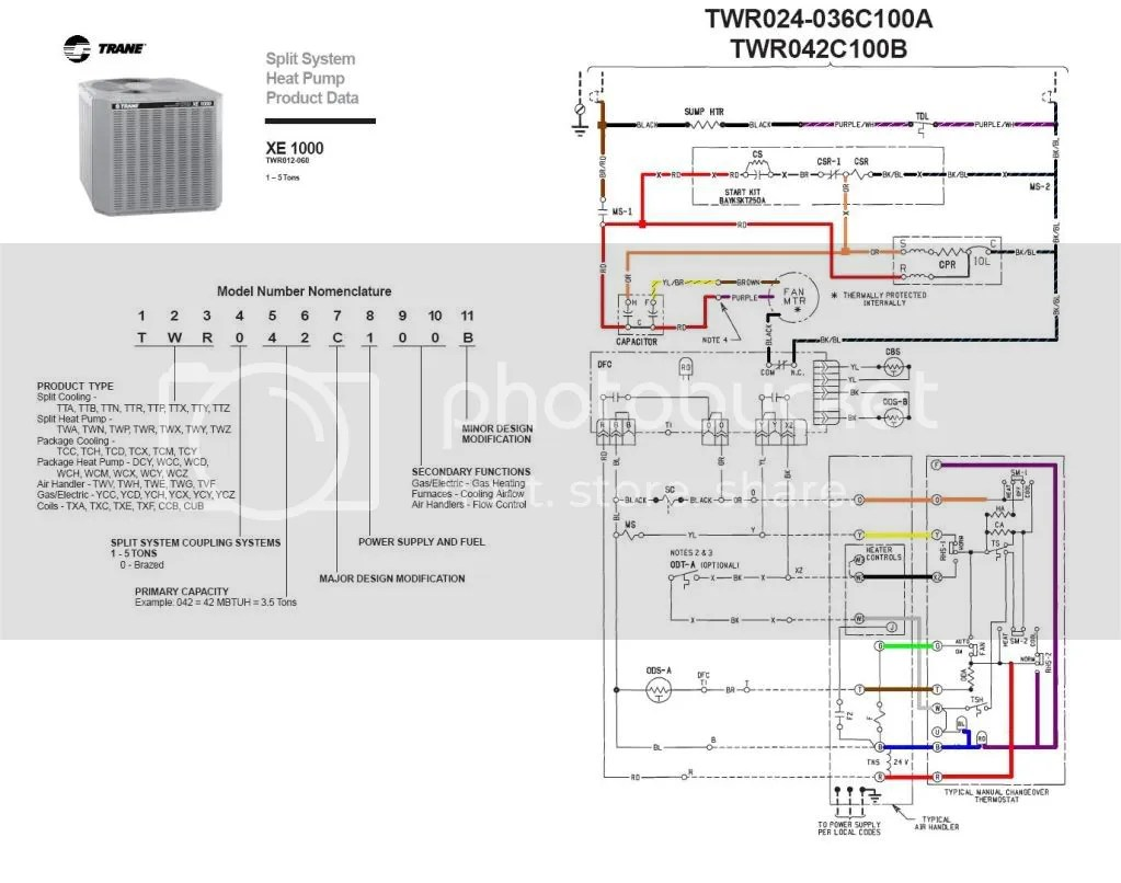 TraneXE1000HP 3 ton trane hvac wiring diagrams free wiring diagrams trane baysens019b thermostat wiring diagram at alyssarenee.co