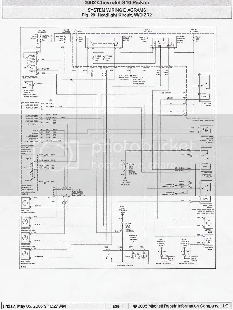 hight resolution of headlight wiring diagram 98 s 10 forum 2003 chevrolet blazer headlight wiring