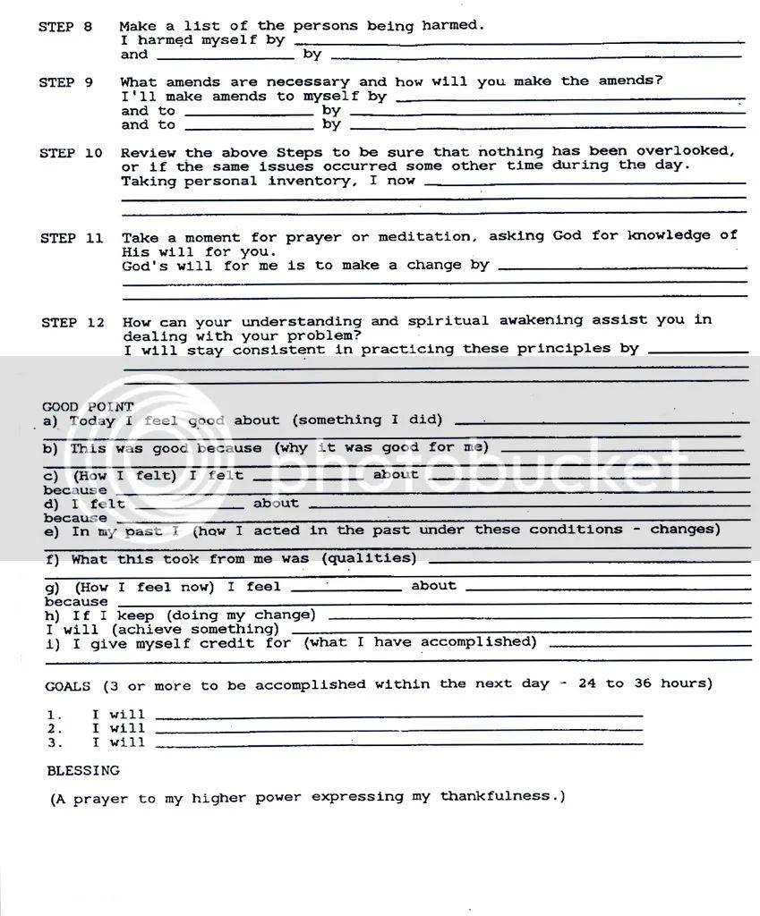 34 Step 10 Daily Inventory Worksheet   Worksheet Resource ...