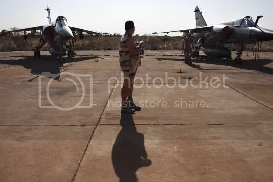 French Mirage F1 fighter jets at the Malian army air base in Bamako, January 14, 2013
