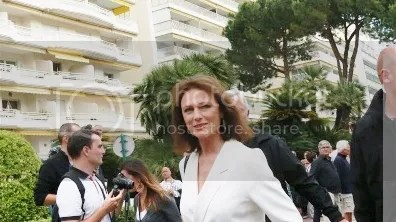 British actress Jacqueline Bisset leaves the set of the French tv channel Canal Plus on the sidelines of the 67th edition of the Cannes Film Festival in Cannes, southern France, on May 17, 2014.