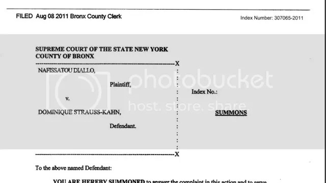 Diallo v Dominique Strauss-Kahn   Summons and Complaint
