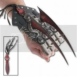 Red Spiked Hand Claws w Knuckle Guards