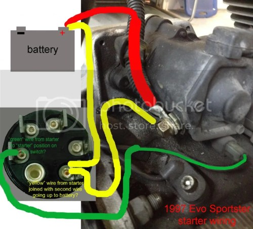 small resolution of does this seem correct im a bit stumped as to where the second heavy gauge yellow in drawing wire on the starters hot terminal goes to if this is