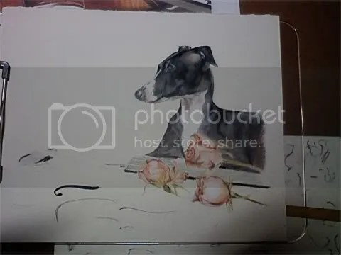Italian Greyhound with violin art
