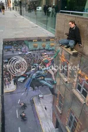 Pavement Art Illusion