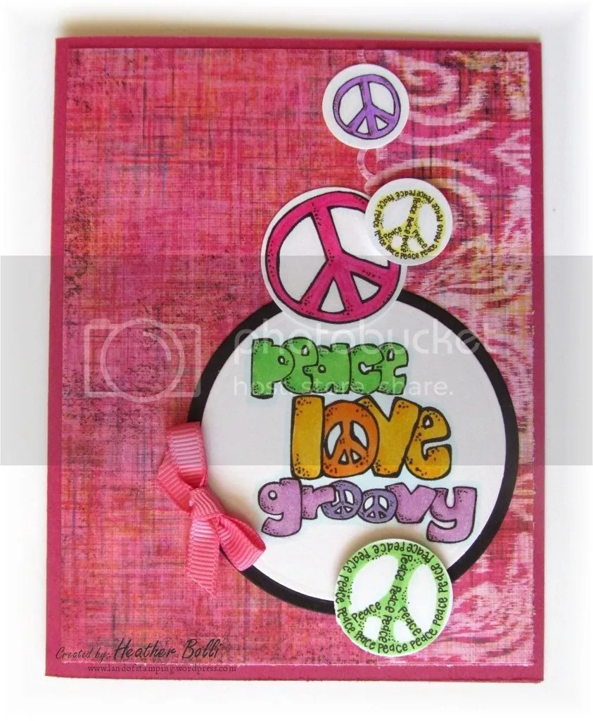 February 2016: Peace, Love, Groovy. How else could I sum up this year? The Crafter's Cafe Challenge Blog has been a great opportunity to work with many different stamp companies. This one was one of my favs this year!