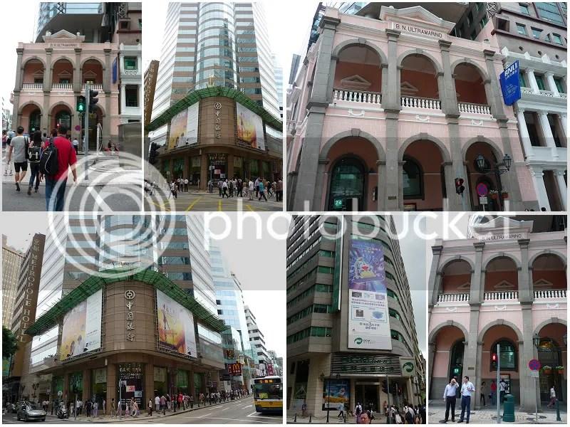 組圖左上:澳門商業銀行以哆啦A夢為主角的廣告。組圖左下:中國工商銀行