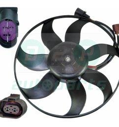 radiator cooling fan with motor for skoda octavia ii superb ii yeti touran eos 4  [ 990 x 990 Pixel ]